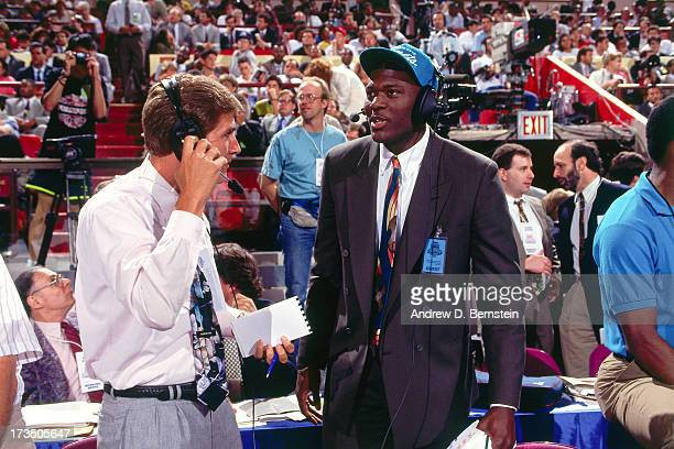 Rookie Larry Johnson of the Charlotte Hornets talks to an interviewer during the 1991 NBA Draft at Madison Square Garden in New York New York NOTE TO...