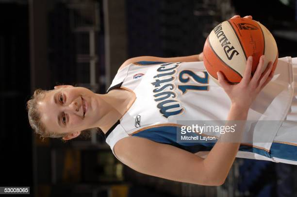 Rookie Laurie Koehn of the Washington Mystics poses before a WNBA game against the New York Liberty on June 1 2005 at the MCI Center in Washington DC...