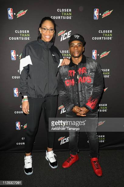 Rookie of the Year A'ja Wilson and Charlamagne Tha God at MTN DEW ICE Courtside Studios during NBA AllStar 2019 at Epicentre on February 16 2019 in...