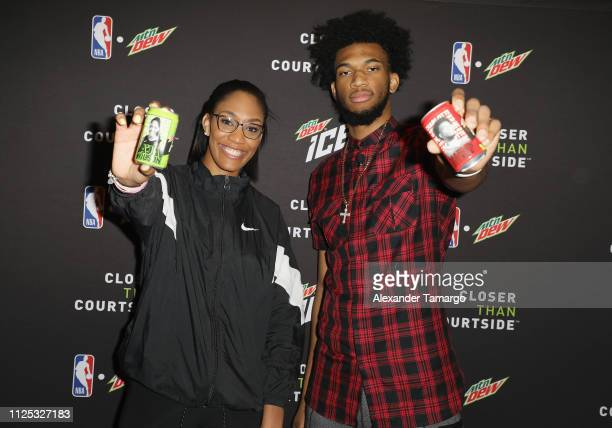 Rookie of the Year A'ja Wilson and MTN DEW ICE Rising Star Marvin Bagley III at MTN DEW ICE Courtside Studios during NBA AllStar 2019 at Epicentre on...