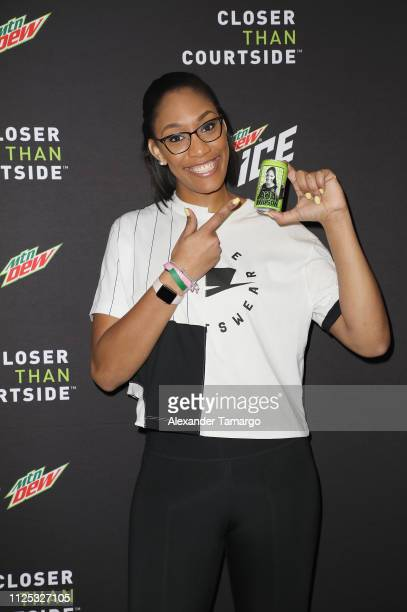 Rookie of the Year A'ja Wilson at MTN DEW ICE Courtside Studios during NBA AllStar 2019 at Epicentre on February 16 2019 in Charlotte North Carolina