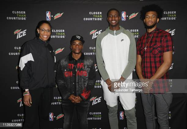 Rookie of the Year A'ja Wilson Charlamagne Tha God and MTN DEW ICE Rising Stars Jaren Jackson Jr and Marvin Bagley III at MTN DEW ICE Courtside...