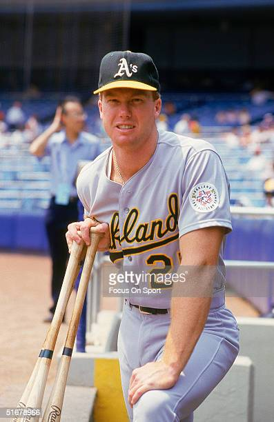 Rookie of the year Mark McGwire of the Oakland Athletics poses for the camera during batting practice at Yankee Stadium in Bronx New York