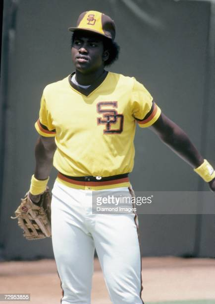 Rookie outfielder Tony Gwynn of the San Diego Padres warms up prior to a game in August 1982 at Jack Murphy Stadium in San Diego California