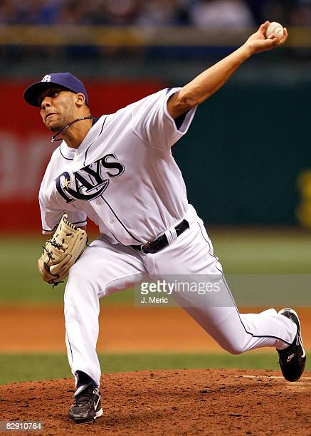 Rookie pitcher David Price of the Tampa Bay Rays pitches against the Minnesota Twins during the game on September 18 2008 at Tropicana Field in St...