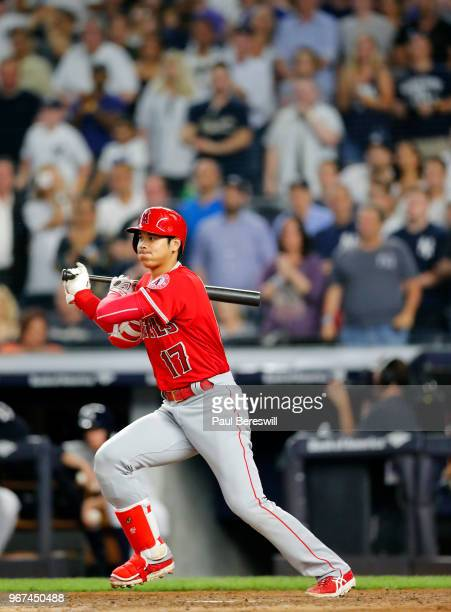 Rookie Pitcher Shohei Ohtani of the Los Angeles Angels bats in an MLB baseball game against the New York Yankees on May 25 2018 at Yankee Stadium in...