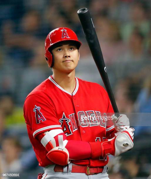 Rookie Pitcher Shohei Ohtani of the Los Angeles Angels prepares to bat in an MLB baseball game against the New York Yankees on May 25 2018 at Yankee...