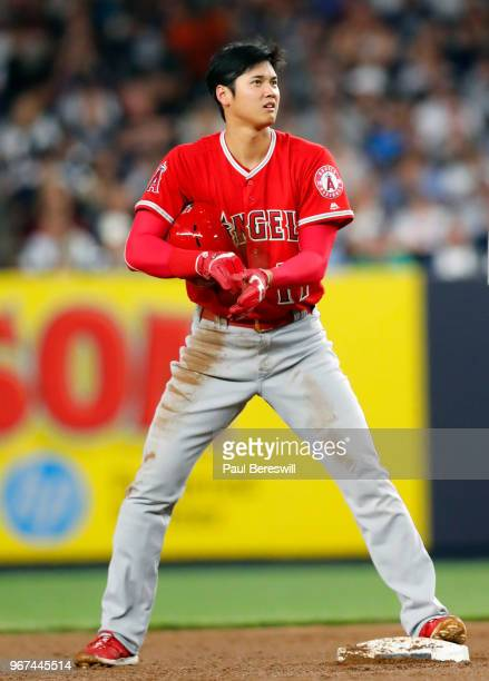 Rookie Pitcher Shohei Ohtani of the Los Angeles Angels reacts in an MLB baseball game against the New York Yankees on May 25 2018 at Yankee Stadium...