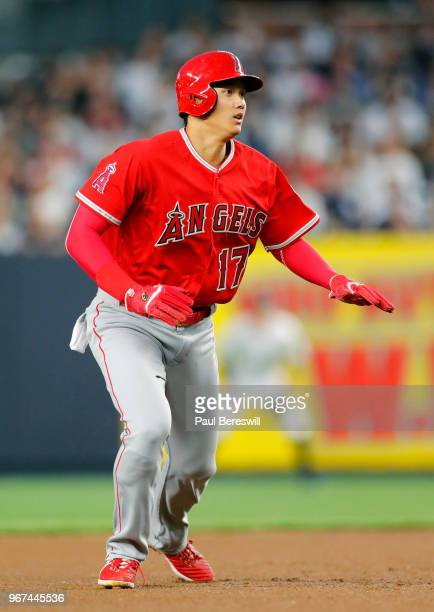 Rookie Pitcher Shohei Ohtani of the Los Angeles Angels takes a lead off of second base in an MLB baseball game against the New York Yankees on May 25...