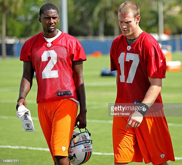 Rookie quarterbacks Jacory Harris, left, and Ryan Tannehill of the The Miami Dolphins during a practice session at the team's practice facility in...