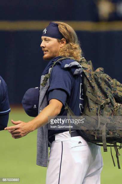 Rookie relief pitcher Ryne Stanek of the Rays is responsible for carrying the rookie backpack with the snacks and treats that keep the pitchers in...