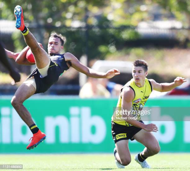 Rookie Sydney Stack takes a courageous mark against Liam Baker of the Tigers during the Richmond 2019 Jumper Presentation and AFL Practice Match at...