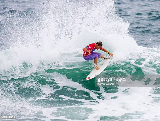 Rookie Travis Logie of Durban South Africa rides a wave during his upset to six times ASP world champion and current ratings leader Kelly Slater of...