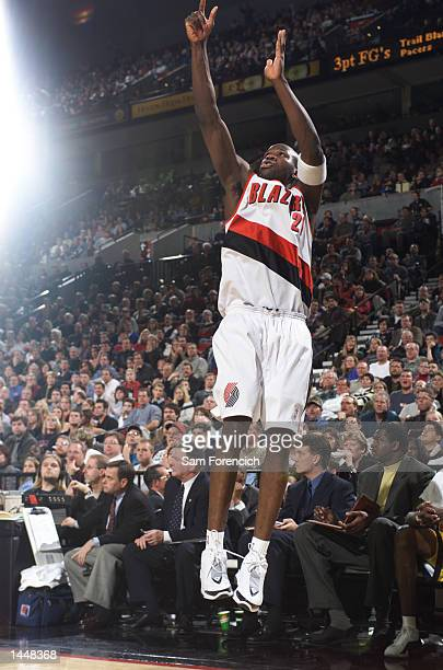 Rookie Zach Randolph of the Portland TrailBlazers scores against the Indiana Pacers at the Rose Garden in Portland Oregon DIGITAL IMAGE NOTE TO USER...