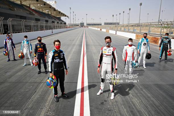 Rookies Bent Viscaal of Netherlands and Trident, Lirim Zendeli of Germany and MP Motorsport, Liam Lawson of New Zealand and Hitech Grand Prix, Oscar...