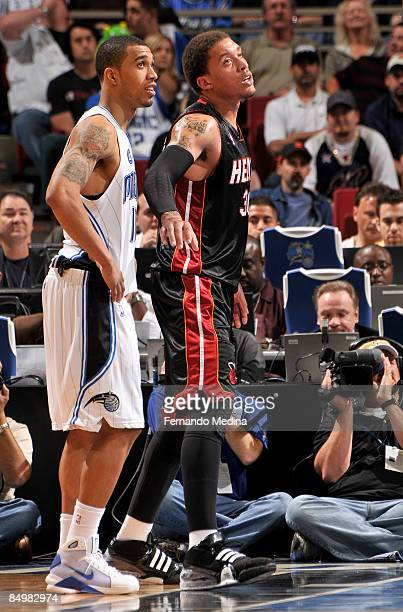 Rookies Courtney Lee of the Orlando Magic and Michael Beasley of the Miami Heat line up during the game on February 22 2009 at Amway Arena in Orlando...