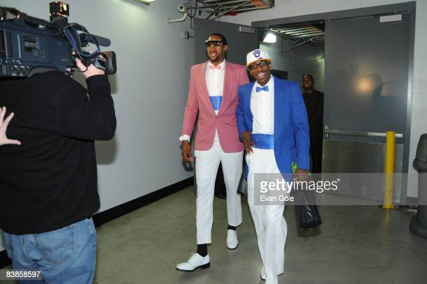 Rookies DeAndre Jordan and Mike Taylor of the Los Angeles Clippers arrive before their game against the Miami Heat at Staples Center on November 29...