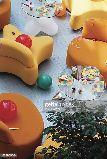 room in office building after party - messy table after party stock pictures, royalty-free photos & images