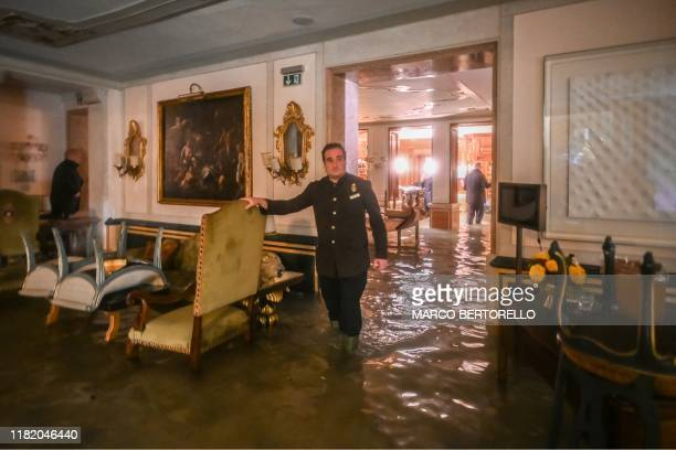 TOPSHOT A room in the flooded Gritti Palace is pictured during an exceptional Alta Acqua high tide water level on November 12 2019 in Venice Powerful...