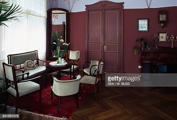 A room in Villa Fines built in 1905 in Art Nouveau style now a hotel Parnu Estonia