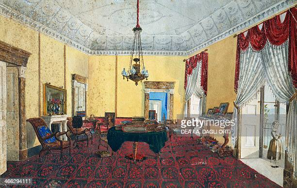 Room interior with view over the Gulf of Naples 18201830 gouache on paper by Serottini