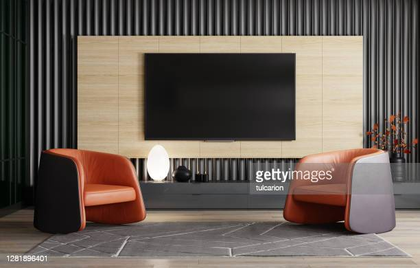 8k tv room modern minimalist living room with flat tv - television studio stock pictures, royalty-free photos & images