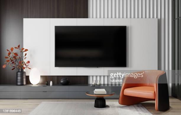 8kテレビルームモダンミニマリストリビングルーム(フラットテレビ付) - insight tv ストックフォトと画像