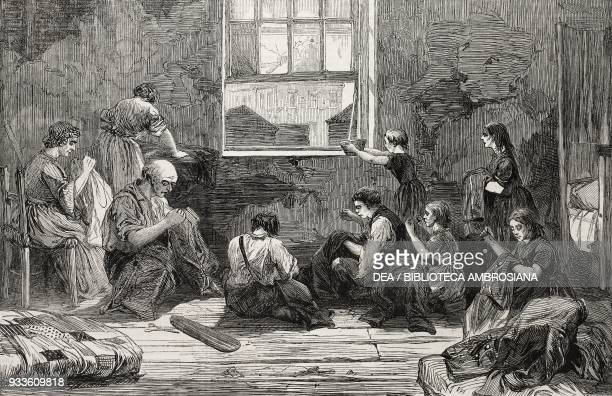 Room occupied by a tailor and his family Bethnal Green London United Kingdom illustration from the magazine The Illustrated London News volume XLIII...