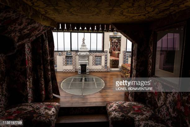 Room of the Hauteville House is pictured during a press visit on April 5, 2019 in Saint Peter Port, the capital of Guernsey island. - The Hauteville...