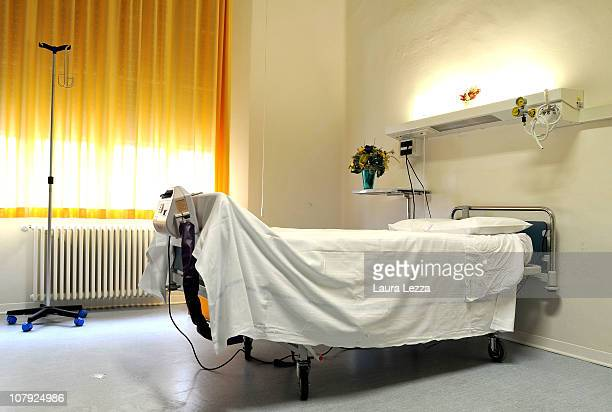 A room of the Hospice of Palliative Care where a woman hospitalized with 'mad cow' disease died yesterday morning is unoccupied on January 7 2011 in...