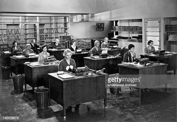 A room of very despondent secretaries United States circa 1925