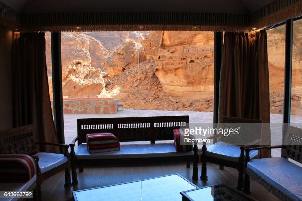 A room overlooks sandstone cliffs at Shaden a new luxury 5star desert camp in Al Ula Saudi Arabia on Wednesday Feb 1 2017 Investment in cultural...