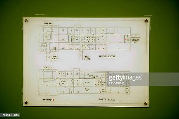 A room plan hangs on a wall inside a former regional government nuclear bunker in Ballymena UK on Thursday Feb 4 2016 The property that was opened in...