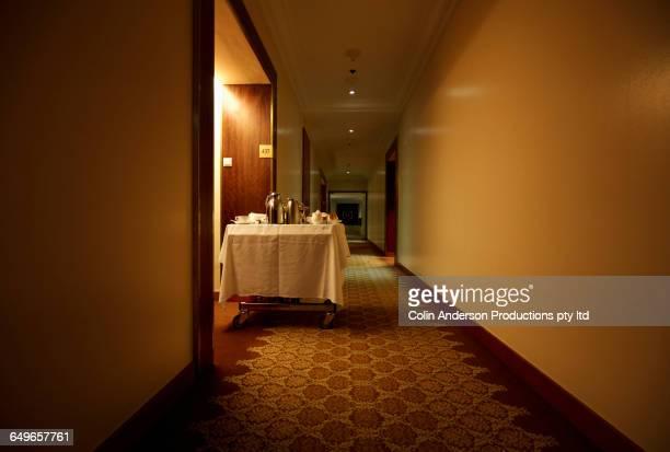 Room service cart in hotel hallway