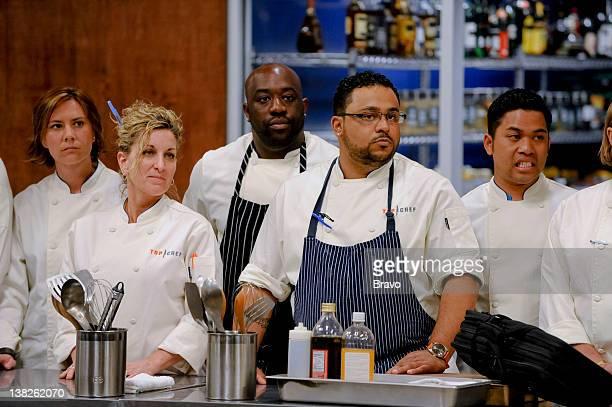 TOP CHEF 'Room Service' Episode 704 Pictured Chefs Kelly Liken Andrea CurtoRandazzo Kenny Gilbert Kevin Sbraga Arnold Myint