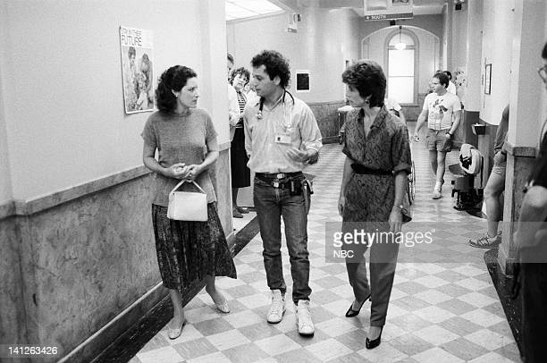 ST ELSEWHERE A Room with a View Episode 3 Pictured Christine Healy as Katie Ewell Howie Mandel as Dr Wayne Fiscus Kathleen Lloyd as unknown Photo by...