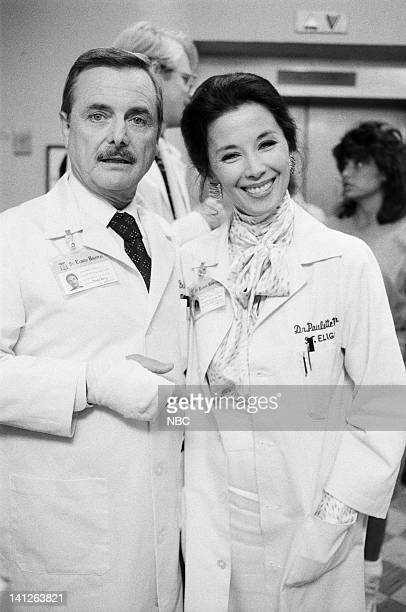 ST ELSEWHERE A Room with a View Episode 3 Pictured William Daniels as Dr Mark Craig France Nuyen as Dr Paulette Kiem Photo by Ron Tom/NBCU Photo Bank