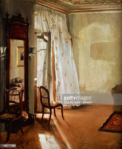 Room with balcony by Adolph Menzel Detail Berlin Alte Nationalgalerie