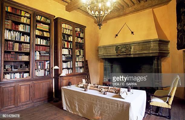 Room with fireplace of the Chateau de Lespinasse near SaintBeauzire Auvergne France 15th century