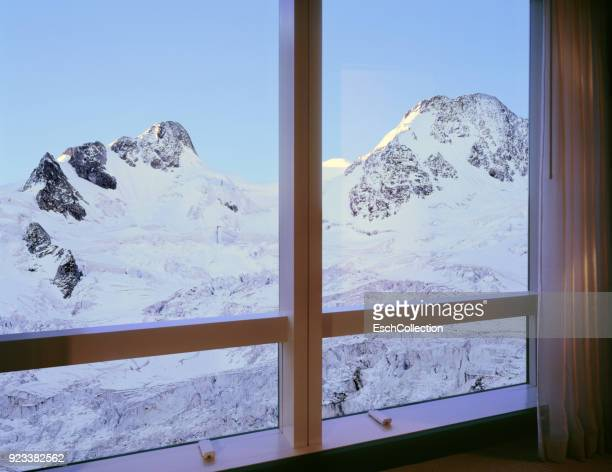 Room with majestic mountain glacier view