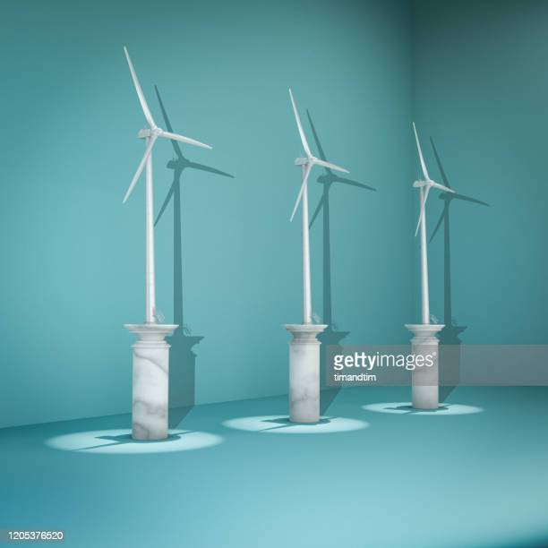 room with wind turbines - environmental conservation stock pictures, royalty-free photos & images