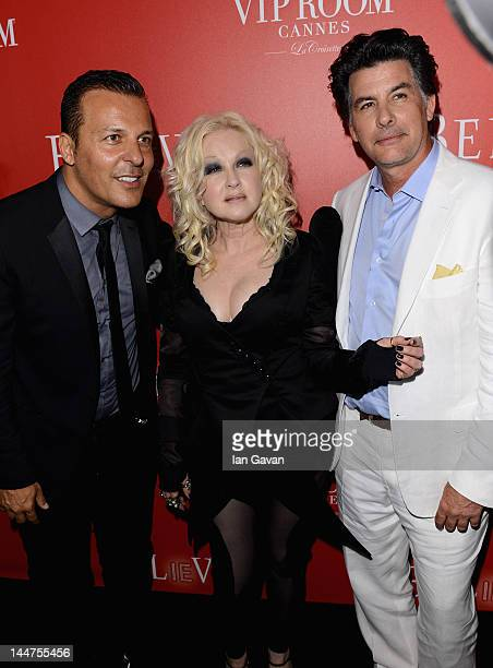 VIP Room's Jean Roch singer Cyndi Lauper and David Thornton arrive at The RED Party in Cannes featuring Cyndi Lauper at VIP Rooms at The JW Marriott...
