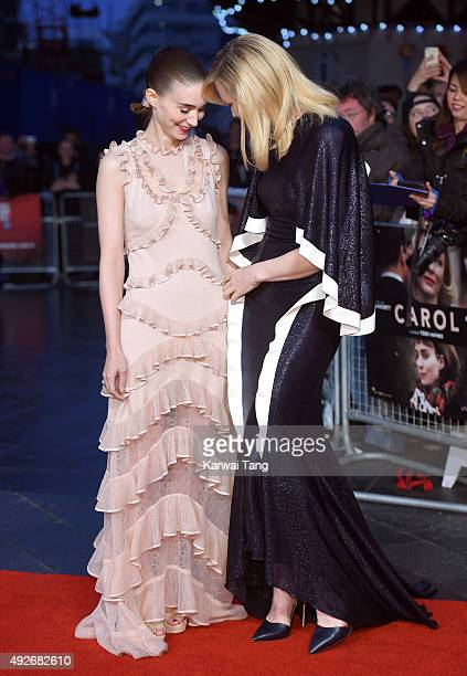Rooney Mara and Cate Blanchett attend a screening of 'Carol' during the BFI London Film Festival at Odeon Leicester Square on October 14 2015 in...