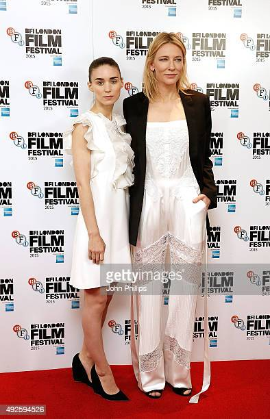Rooney Mara and Cate Blanchett attend the 'Carol' photocall during the BFI London Film Festival at the Soho Hotel on October 14 2015 in London England