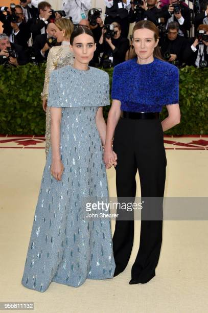 Rooney Mara and Clare Waight Keller attend the Heavenly Bodies Fashion The Catholic Imagination Costume Institute Gala at The Metropolitan Museum of...