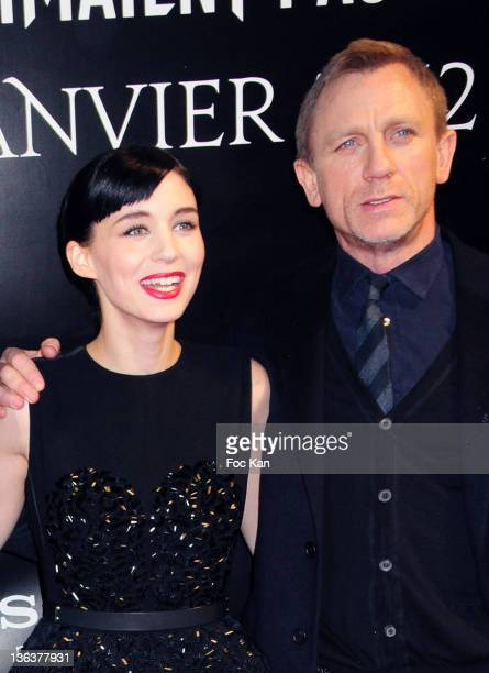 Rooney Mara and Daniel Craig attend the 'Millenium The Girl With The Dragon Tattoo' Paris Premiere at UGC Normandie on January 3 2012 in Paris France
