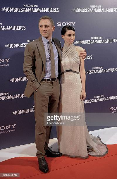 Rooney Mara and Daniel Craig attend the premiere of 'Millenium The Girl With the Dragon Tattoo' at Callao CInema on January 4 2012 in Madrid Spain