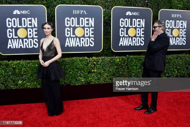 Rooney Mara and Joaquin Phoenix attend the 77th Annual Golden Globe Awards at The Beverly Hilton Hotel on January 05 2020 in Beverly Hills California