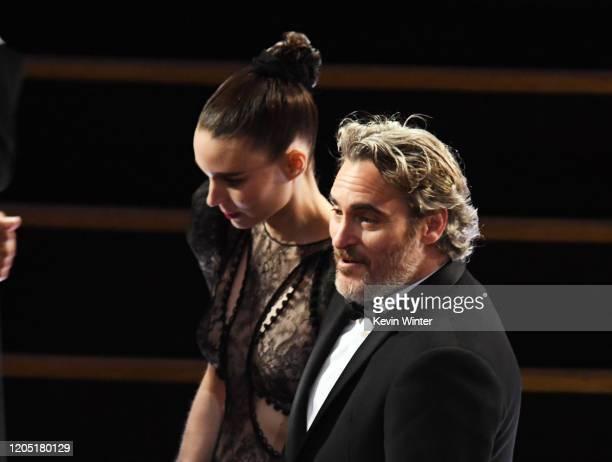 Rooney Mara and Joaquin Phoenix attend the 92nd Annual Academy Awards at Dolby Theatre on February 09 2020 in Hollywood California