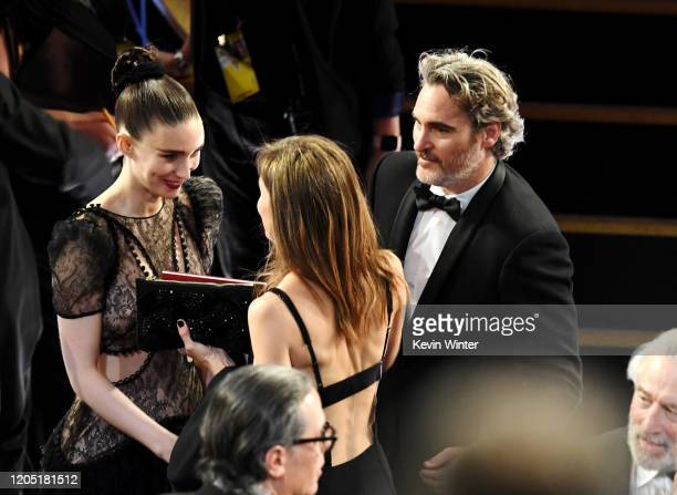 Rooney Mara and Joaquin Phoenix attend the 92nd Annual Academy Awards at Dolby Theatre on February 09, 2020 in Hollywood, California.